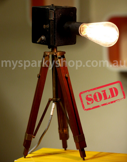 Upcycling Lamp Light Bulb Perth Interior Design Vintage Retro Industrial Mason Jars Tripod Camera