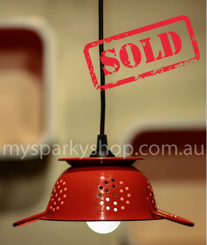 Upcycling Lamp Light Bulb Perth Interior Design Vintage Retro Industrial Mason Jars Strainer Colander Sieve