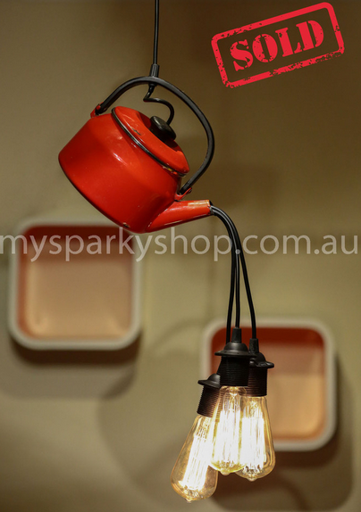Upcycling Lamp Light Bulb Perth Interior Design Vintage Retro Industrial Mason Jars Kettle